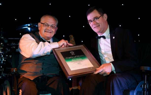 Oliver Murphy, left,  was presented with the number one pin at the launch last year ©Paralympics Ireland