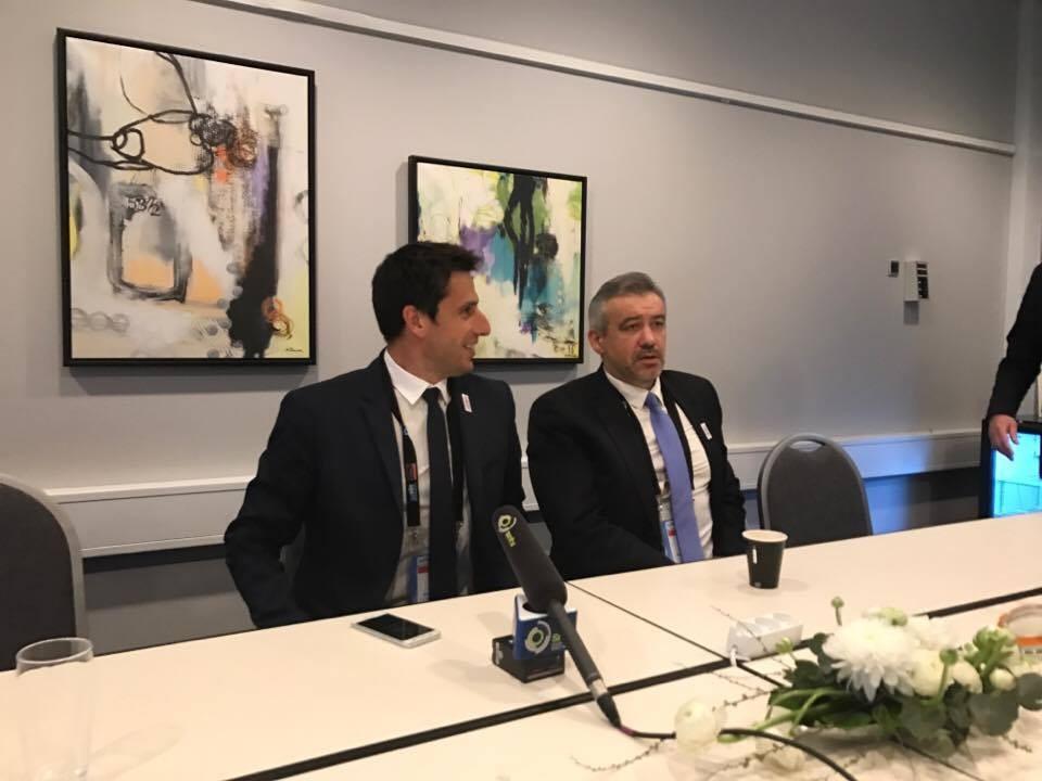 Paris 2024 co-bid leader Tony Estanguet, left, speaking alongside chief executive Etienne Thobois ©ITG