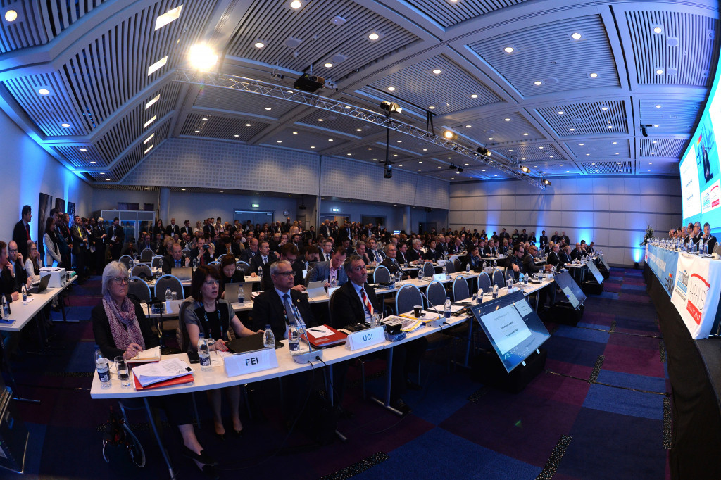 A packed room of delegates watched the ASOIF General Assembly ©Getty Images
