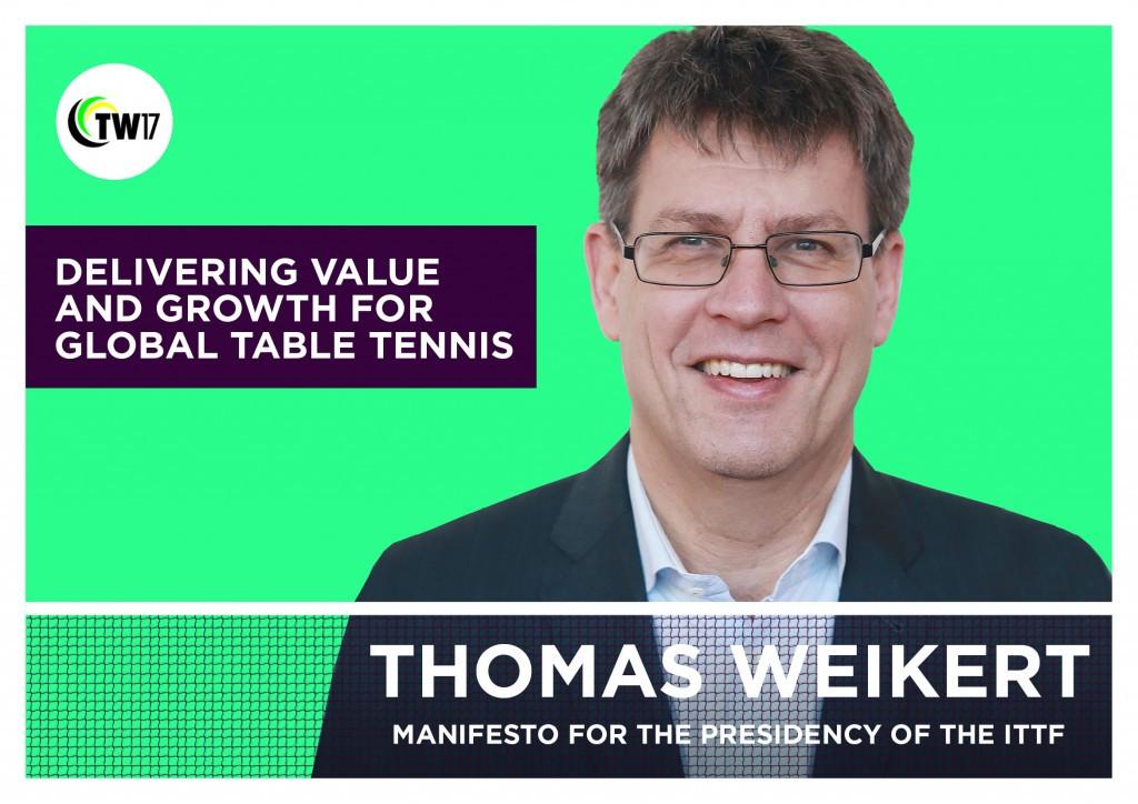 Weikert unveils manifesto for ITTF Presidency
