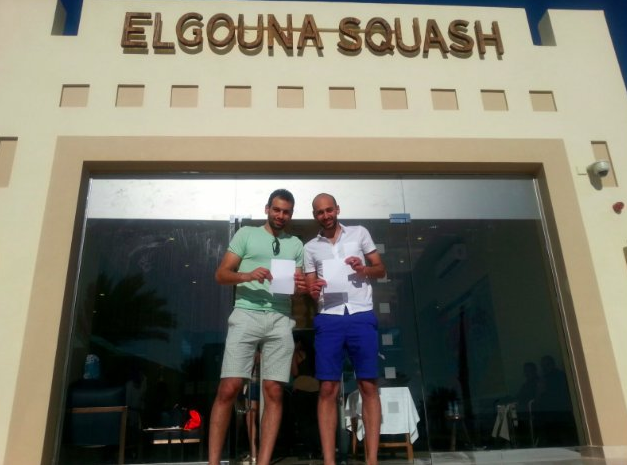 Brothers Marwan, right, and Mohamed Elshorbagy, left, also took part in today's celebrations ©PSA