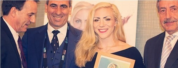 Muay thai fighter Sofia Olofsson has received her trophy in recognition of being crowned IWGA Athlete of the Year for 2016 in February ©IWGA