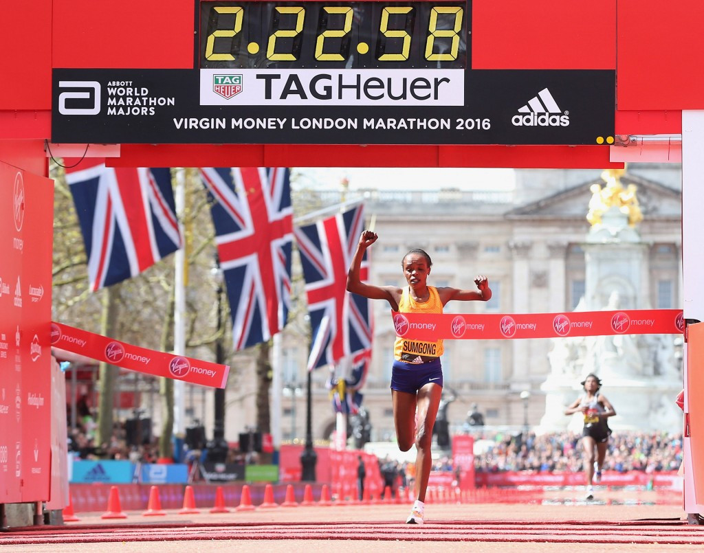 Jemima Sumgong won last year's London Marathon and was poised to start the 2017 race ©Getty Images
