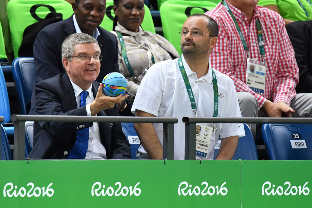 Patrick Baumann, right, alongside IOC President Thomas Bach at Rio 2016 ©Getty Images