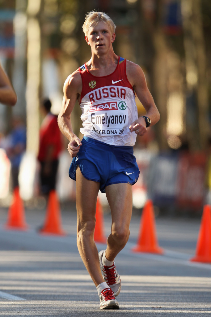 Racewalker Stanislav Emelyanov has been banned for seven years for a second offence ©Getty Images
