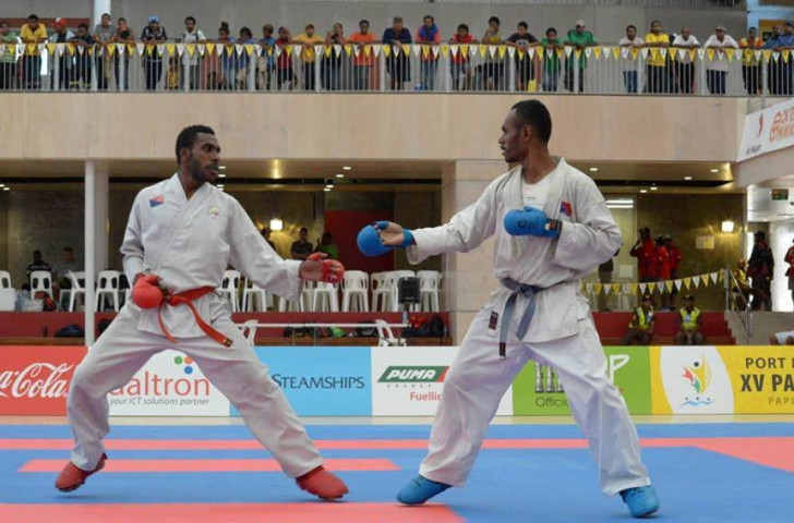 The two-day karate competition is taking place at the Taurama Aquatic and Leisure Centre