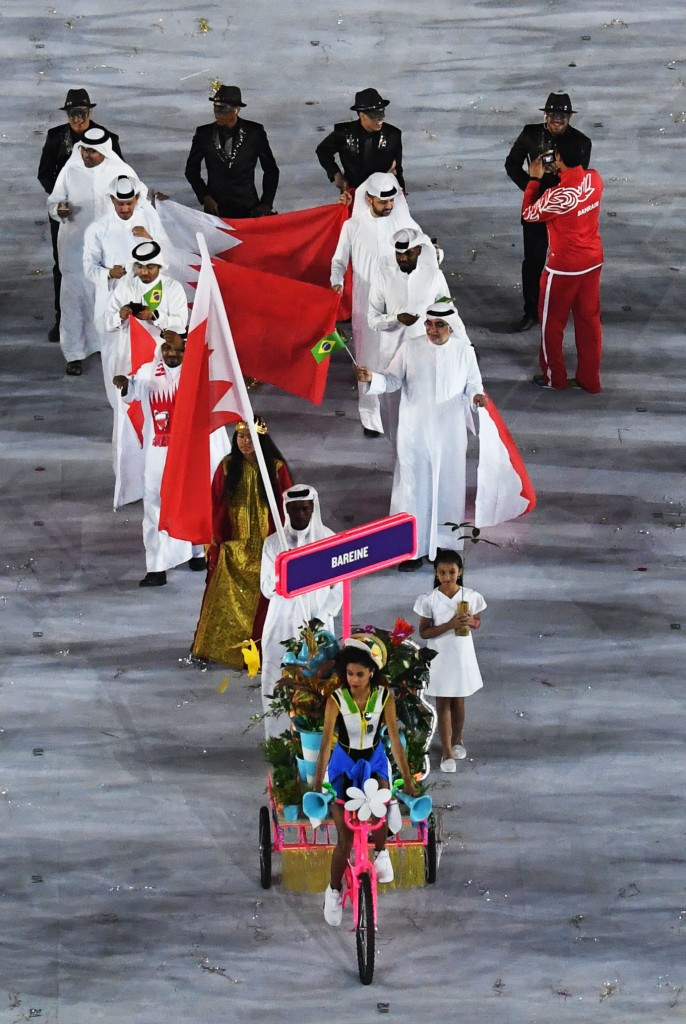 Bahrain's team march at the Opening Ceremony of the Rio 2016 Olympic Games ©BOC
