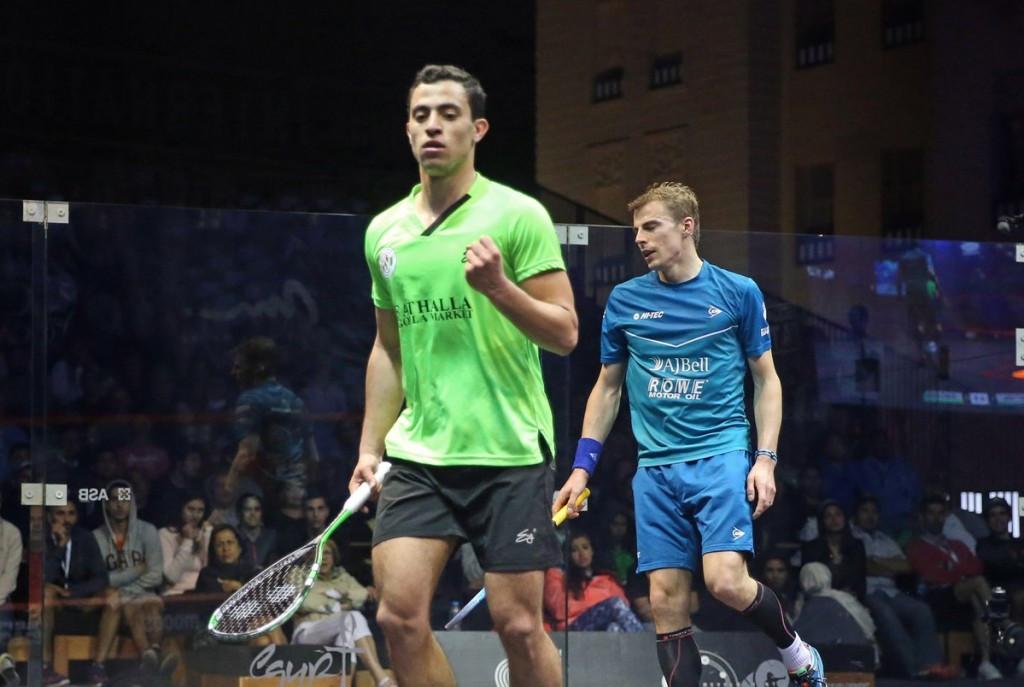Egypt's Fares Dessouky upset England's Nick Matthew to reach the second round of the men's El Gouna International Squash Open ©PSA World Tour/Twitter
