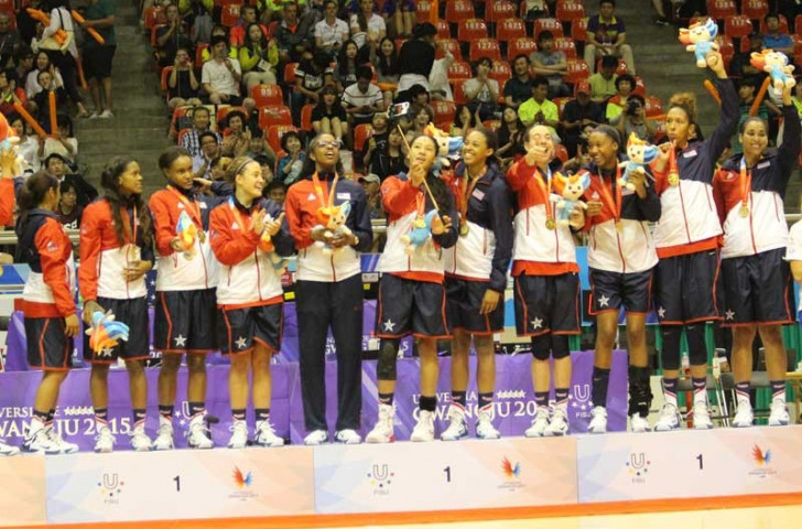United States celebrate their women's gold medals on a day of double basketball success ©USA Basketball