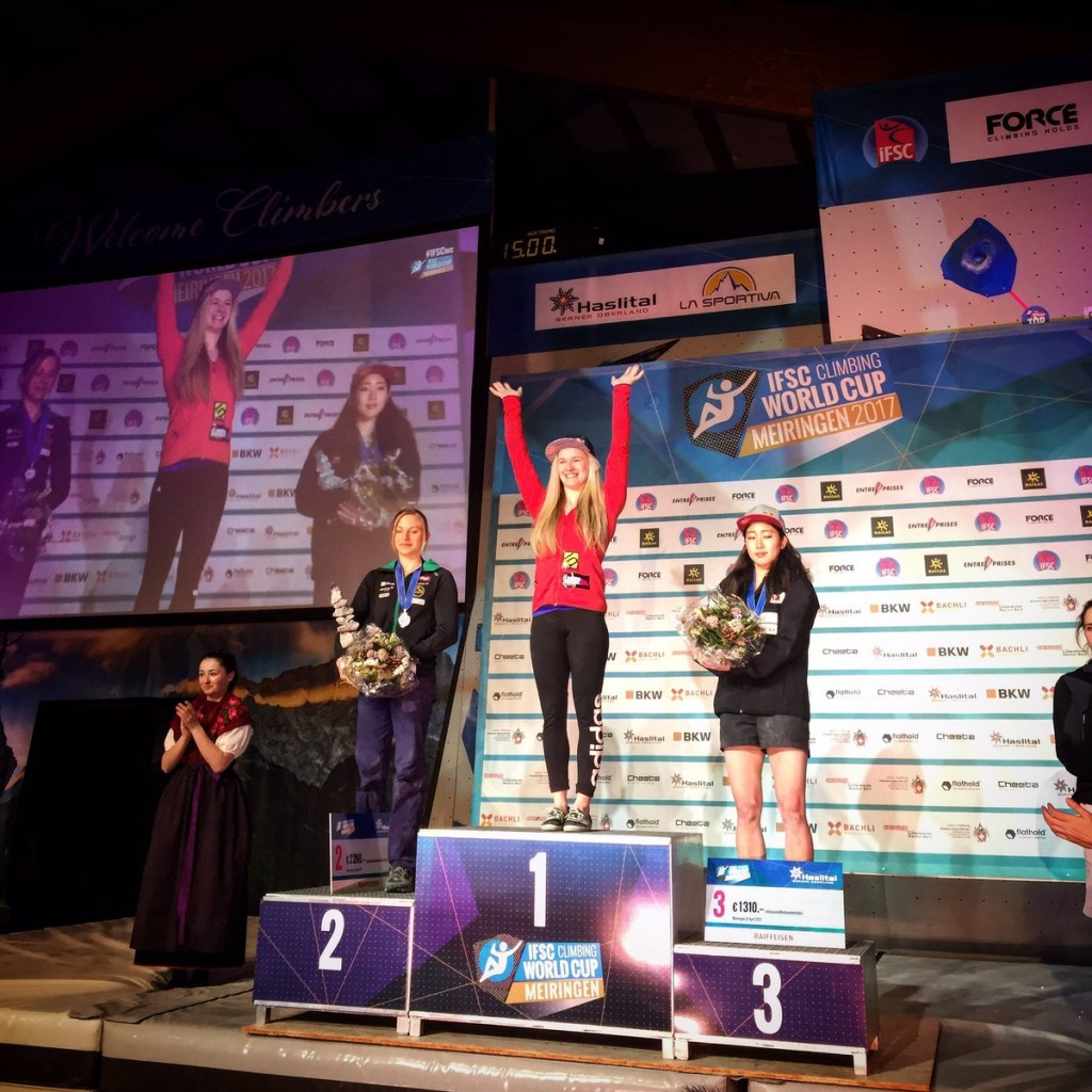 Coxsey marks return from injury with IFSC Bouldering World Cup win