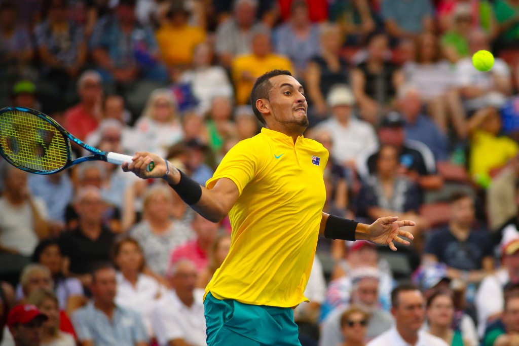 Nick Kyrgios, pictured, beat Sam Querrey today to send Australia through ©Getty Images