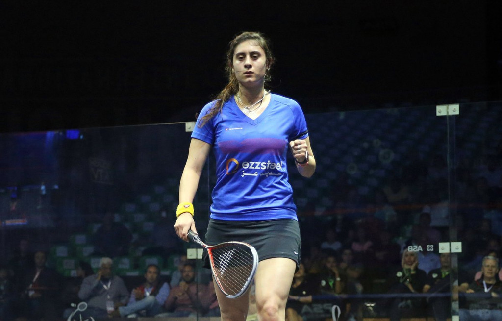 Reigning champion Nour El Sherbini is through to the quarter-finals of the delayed 2016 PSA Women's World Championship in El Gouna ©PSA World Tour/Twitter