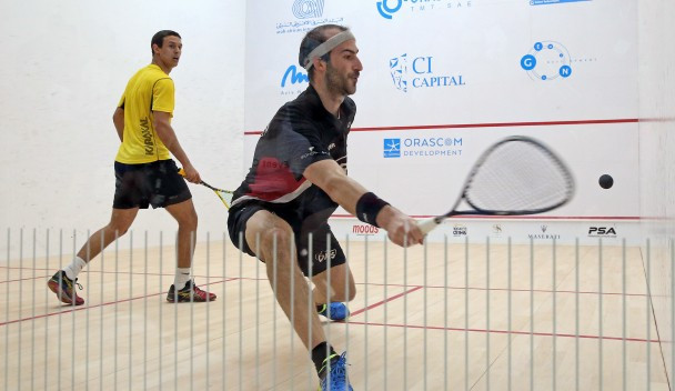 Simon Rösner, right, beat Karim Ali Fathi, left, to reach the quarter-finals of the men's El Gouna International Squash Open ©PSA World Tour