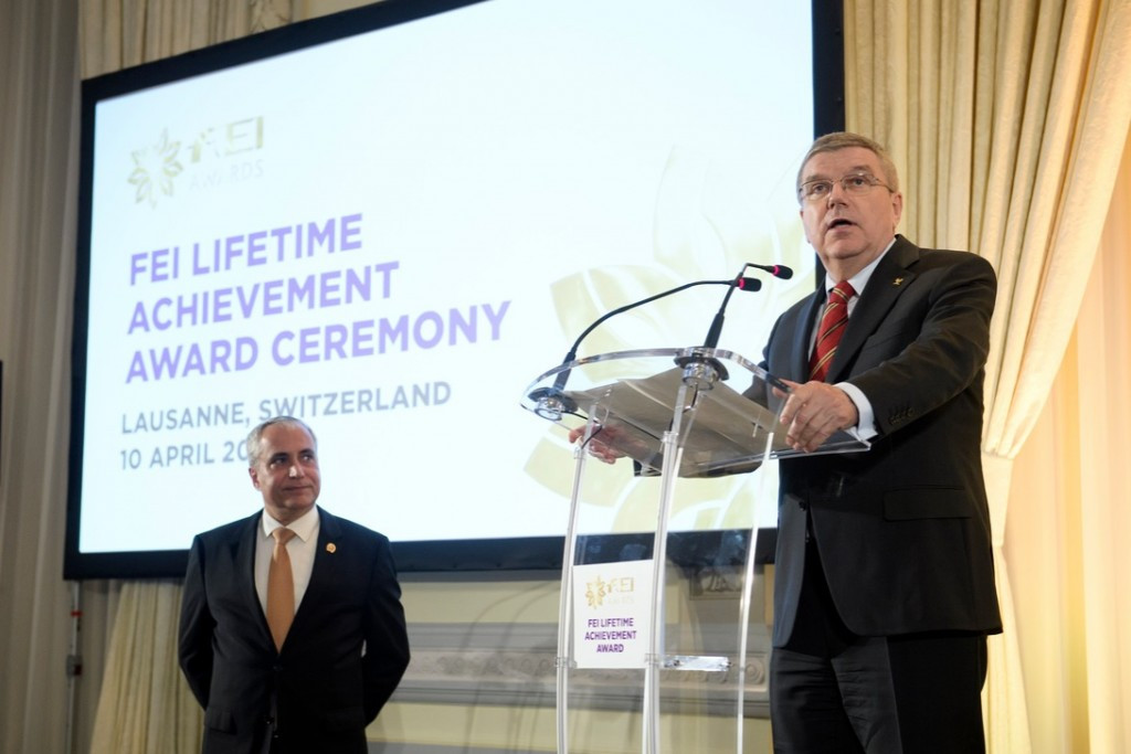 IOC President Thomas Bach was in attendance at the ceremony ©FEI