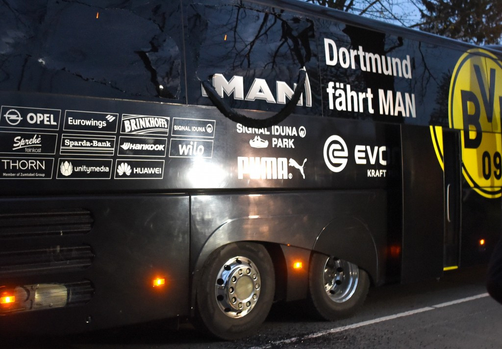 The team bus was damaged and Marc Bartra was injured in the incident ©Getty Images