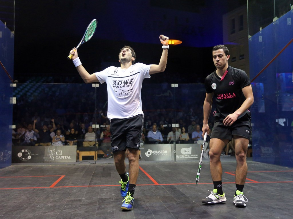 Egypt's Karim Abdel Gawad beat team-mate Fares Dessouky to reach the final of the men's El Gouna International Squash Open at the Abu Tig Marina ©PSA