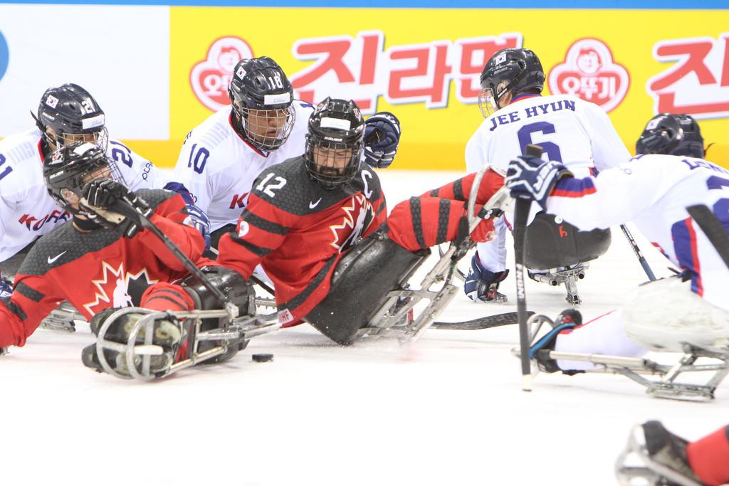 Canada beat hosts South Korea 2-0 today to keep their perfect record intact at the 2017 World Para Ice Hockey Championships in Gangneung ©POCOG