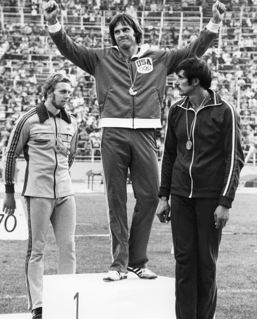 Bruce Jenner celebrates gold in the 1976 Olympic decathlon, flanked by silver medallist Guido Kratschmer of West Germany (left) and Soviet bronze medallist Mykola Avilov ©Getty Images