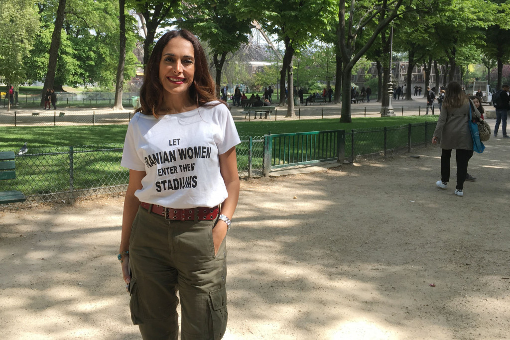 Activist Darya Safai pictured protesting the ban on women entering Iranian football and volleyball stadiums in Paris last week ©AFP/Getty Images