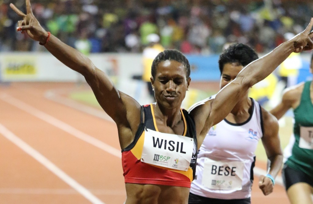Toea Wisil won the women's 100m event to secure Papua New Guinea's sixth gold medal of the day ©Port Moresby 2015