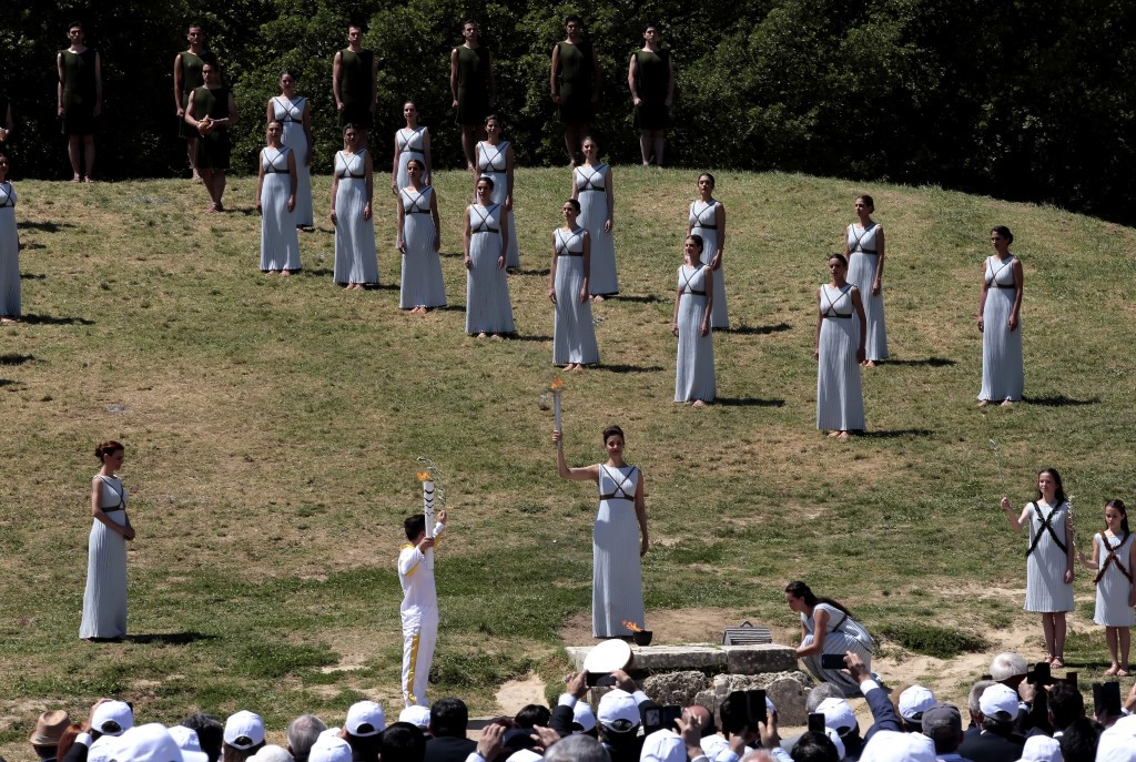 The Pyeongchang Winter Olympic Flame will be lit in traditional fashion at Ancient Olympia in October ©Getty Images