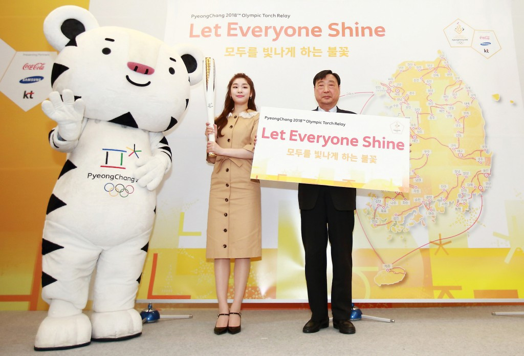 Kim Yuna, left, and Lee Hee-beom were on hand to announce details of the Torch Relay ©Pyeongchang 2018