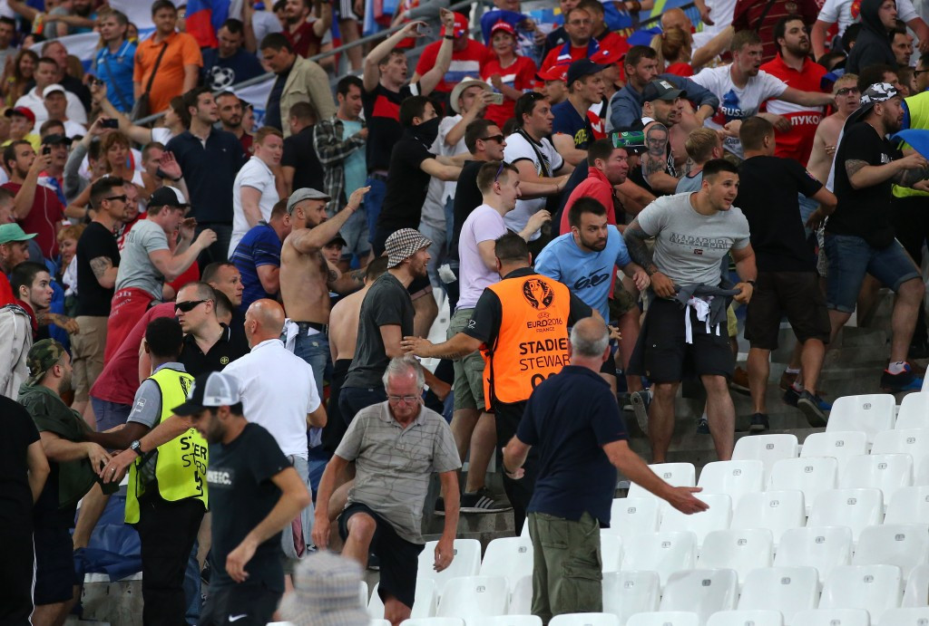 Violent scenes erupted between Russia and England fans inside and outside the stadium when they met in Marseille at Euro 2016 ©Getty Images
