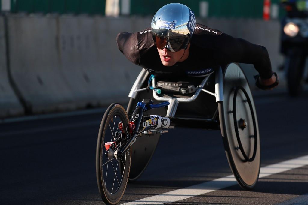 Marcel Hug of Switzerland won the Boston Marathon today ©Getty Images