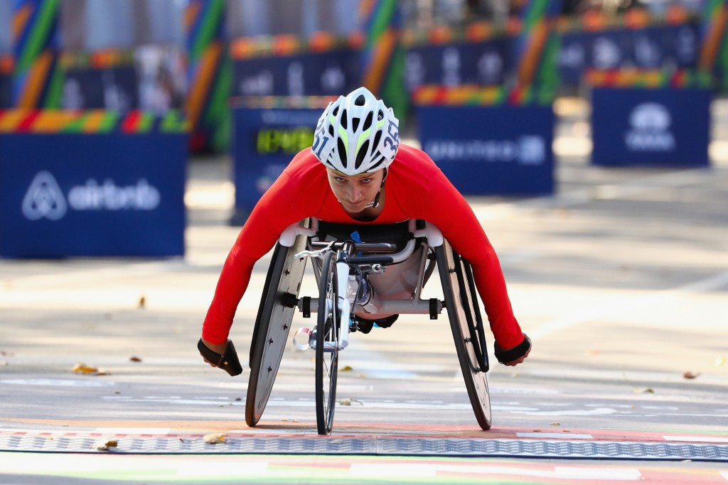 Manuela Schar, pictured racing at the 2016 New York City Marathon, was the winner of the women's race today ©Getty Images