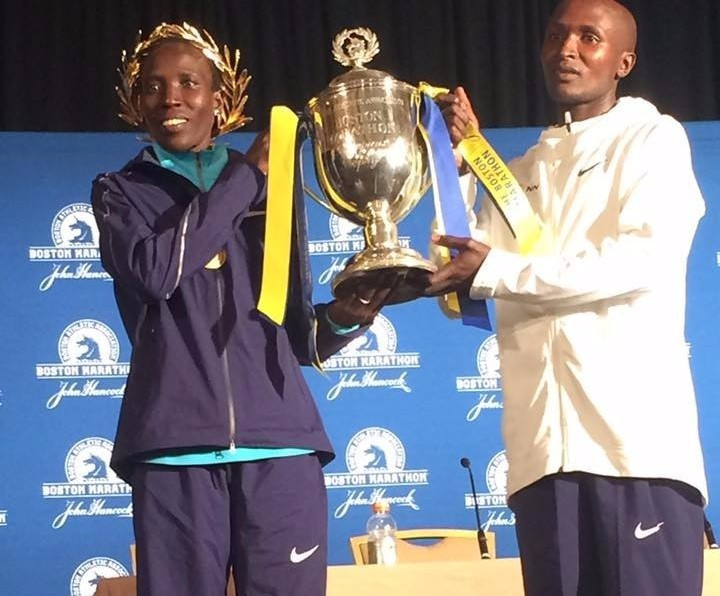 Edna Kiplagat, left, and Geoffrey Kirui won today's Boston Marathon races ©Boston Marathon/Twitter