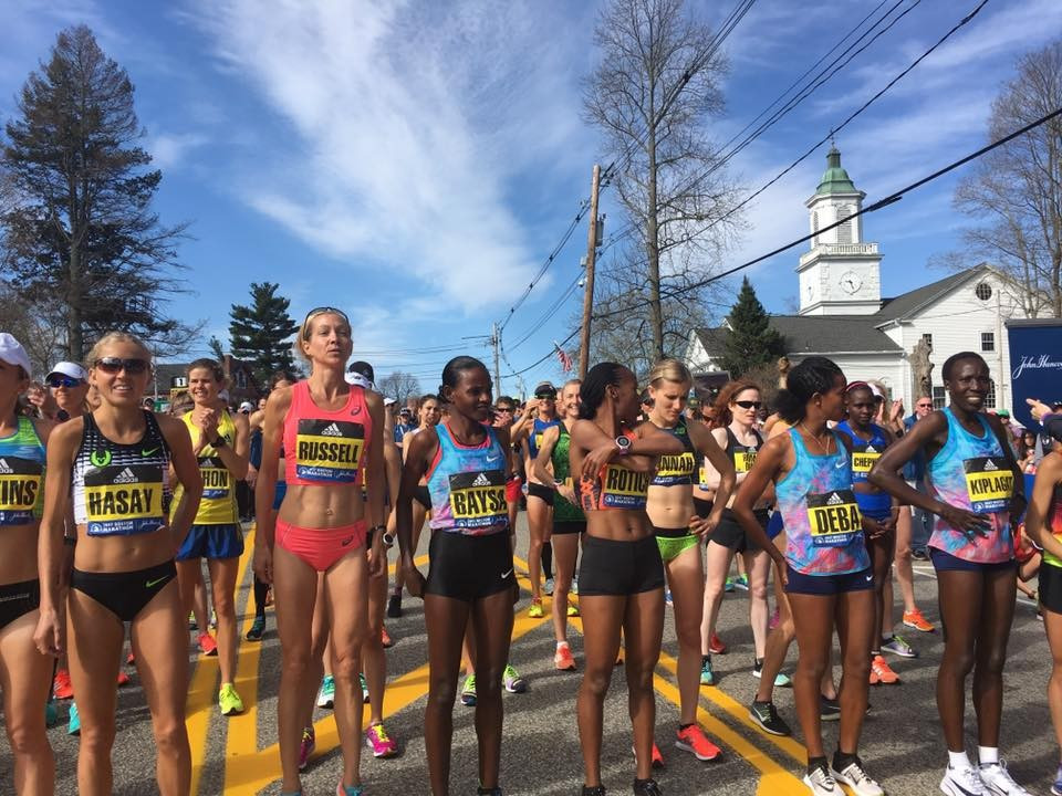 Elite women runners prepare for the start of today's marathon  ©Boston Marathon/Facebook
