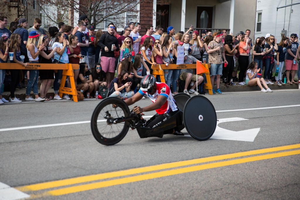 Wheelchair racers are cheered on during the Boston Marathon ©Getty Images