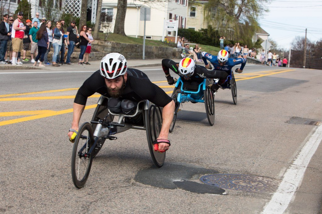 Wheelchair racers passing the mile six point at the Boston Marathon ©Getty Images