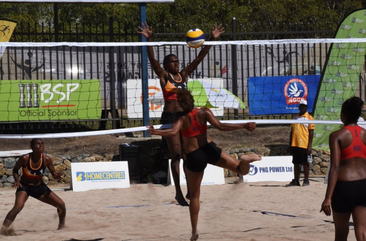Papua New Guinea's women's beach volleyball team recovered from yesterday's defeat at the hands of American Samoa by beating New Caledonia in three sets ©Port Moresby 2015