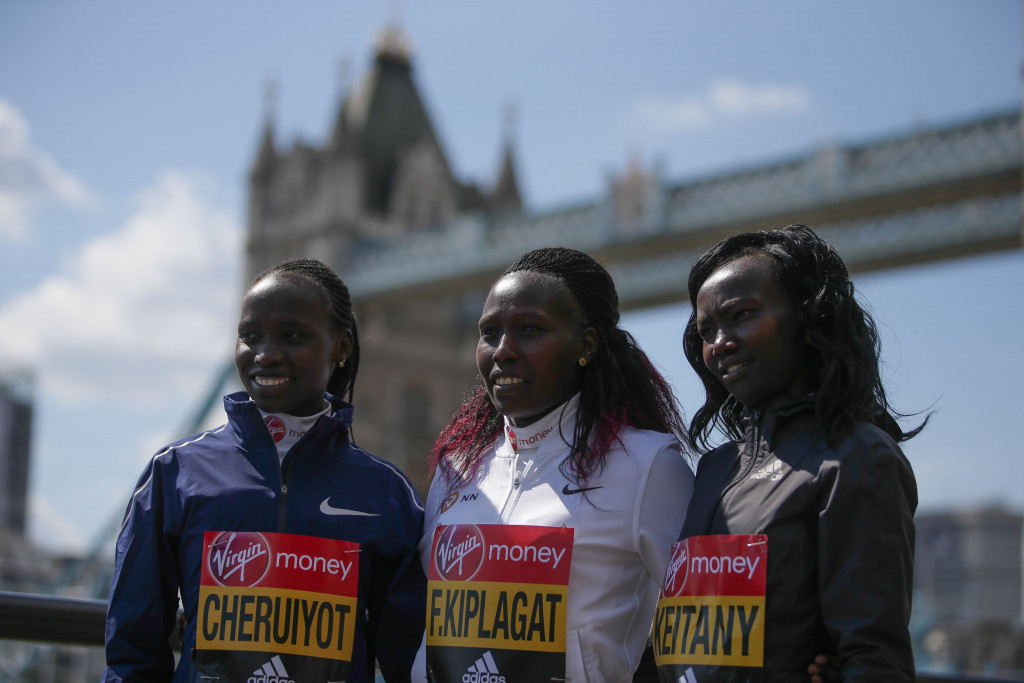 Kenya's Florence Kiplagat and team-mates Vivian Cheruiyot and Mary Keitany, all due to run in the London Marathon on Sunday, have condemned Jemima Sumgong following a positive test for EPO ©Getty Images