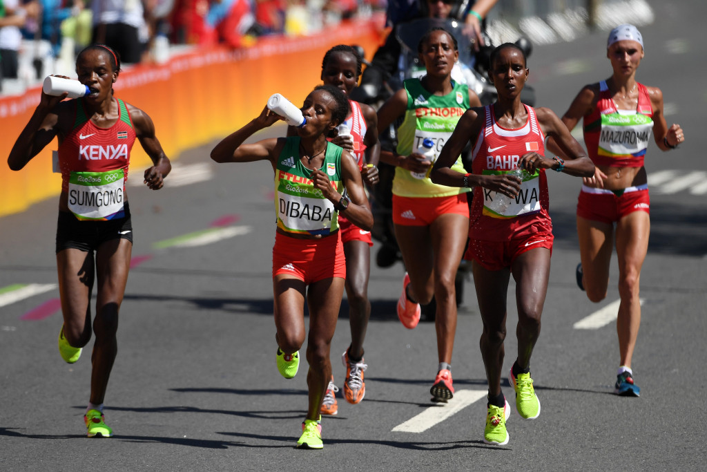 Ethiopia's Mare Dibaba, second left, admitted it was