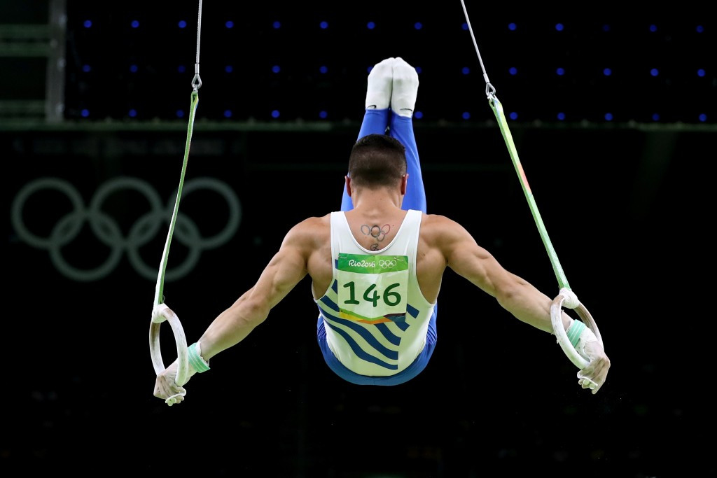 Olympic gold medallist Eleftherios Petrounias qualified for the final of the rings competition in top spot ©Getty Images