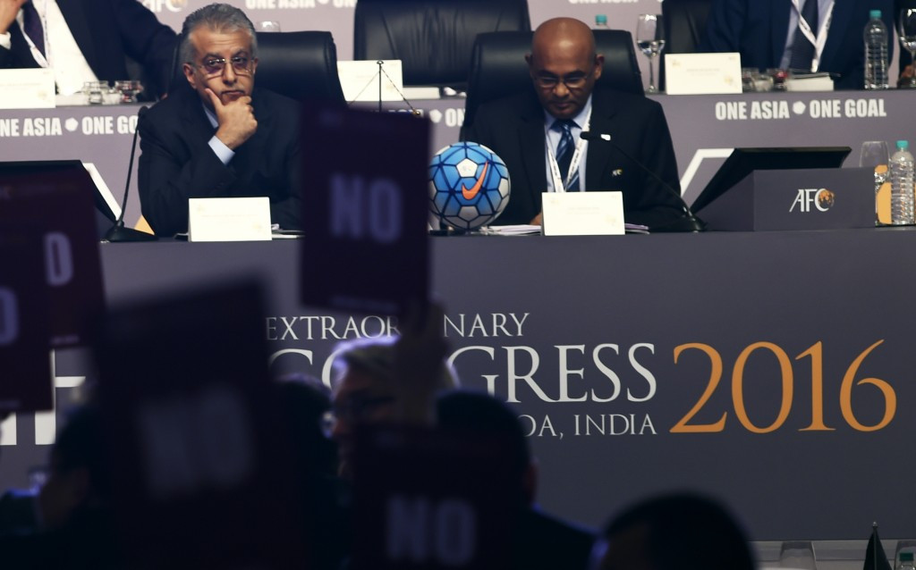The AFC membership voted against the agenda at the Congress in Goa last year in protest at Saoud Al-Mohannadi being barred from standing in the FIFA Council elections ©Getty Images