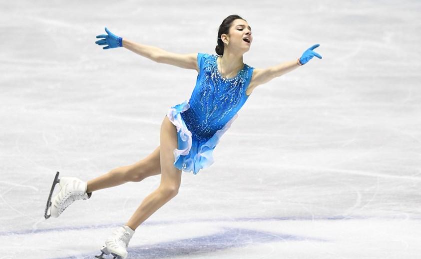 World champion Evgenia Medvedeva performed strongly for Russia ©ISU