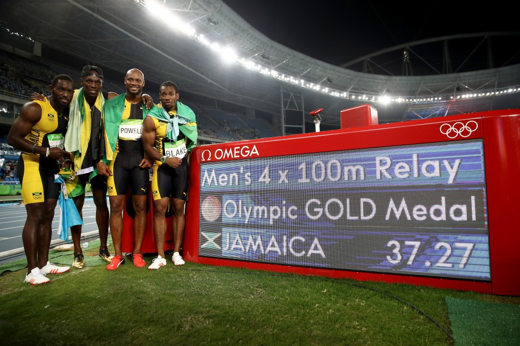 In the absence of Usain Bolt and former world 100m record holder Asafa Powell, much will be expected of Jamaica's 2011 world 100m champion Yohan Blake, pictured far right ©Getty Images