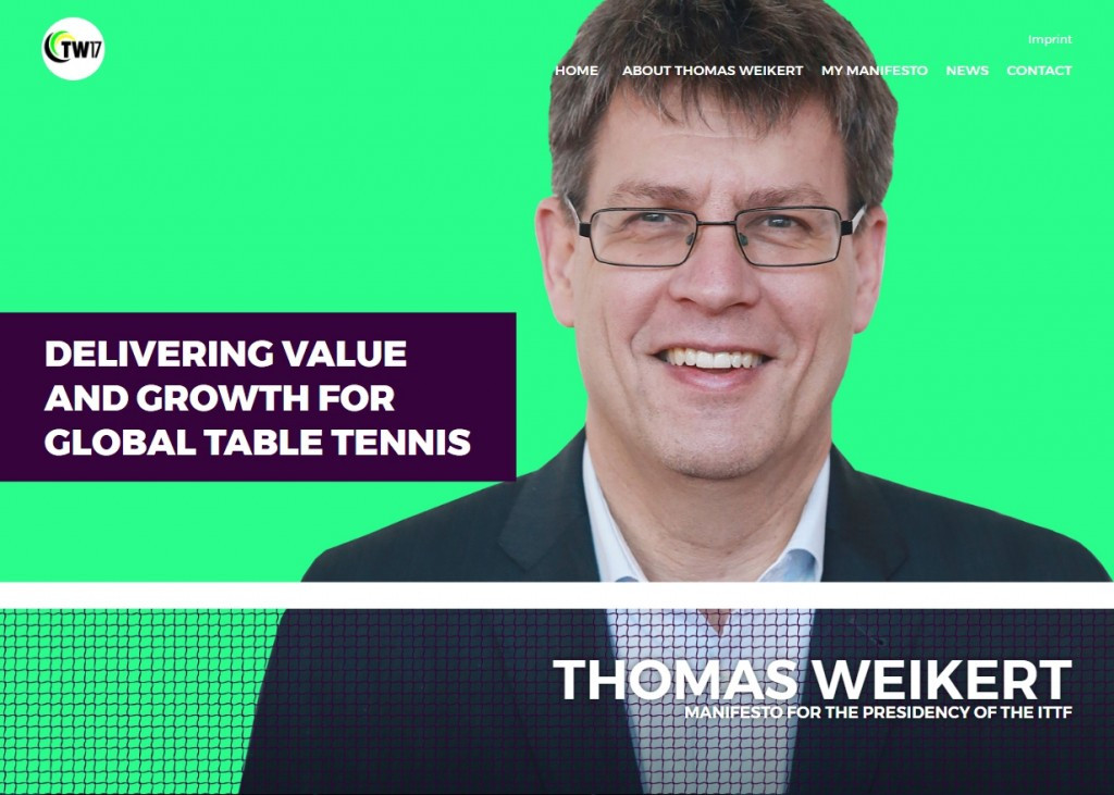 ITTF President Weikert unveils re-election campaign website