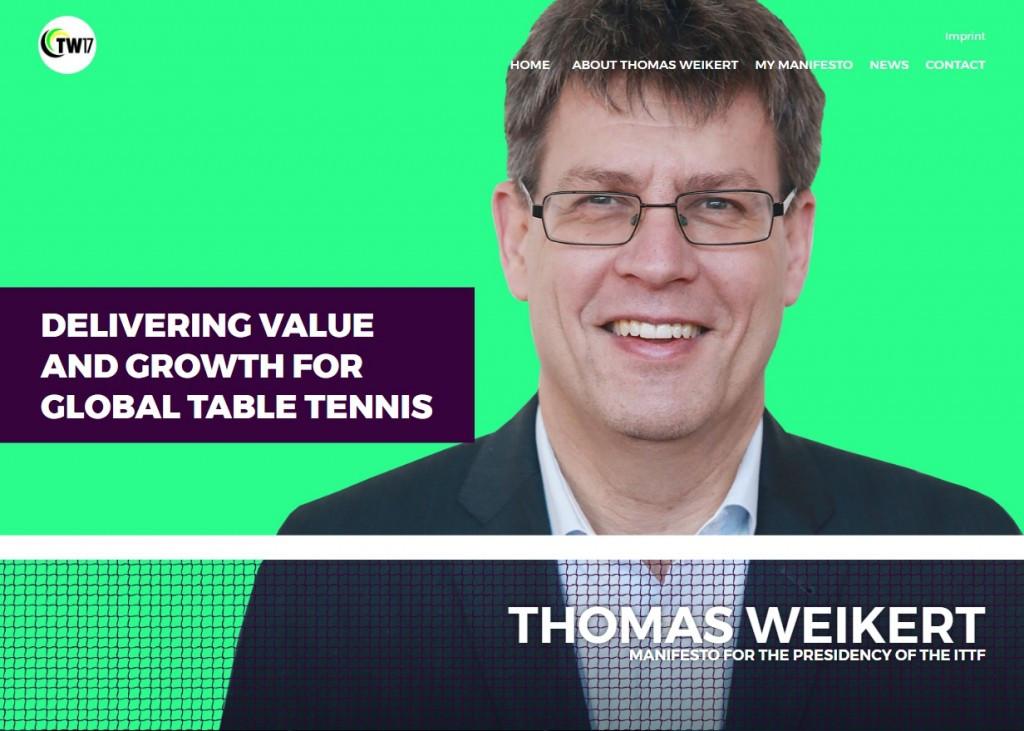 ITTF President Weikert unveils re-election campaign website