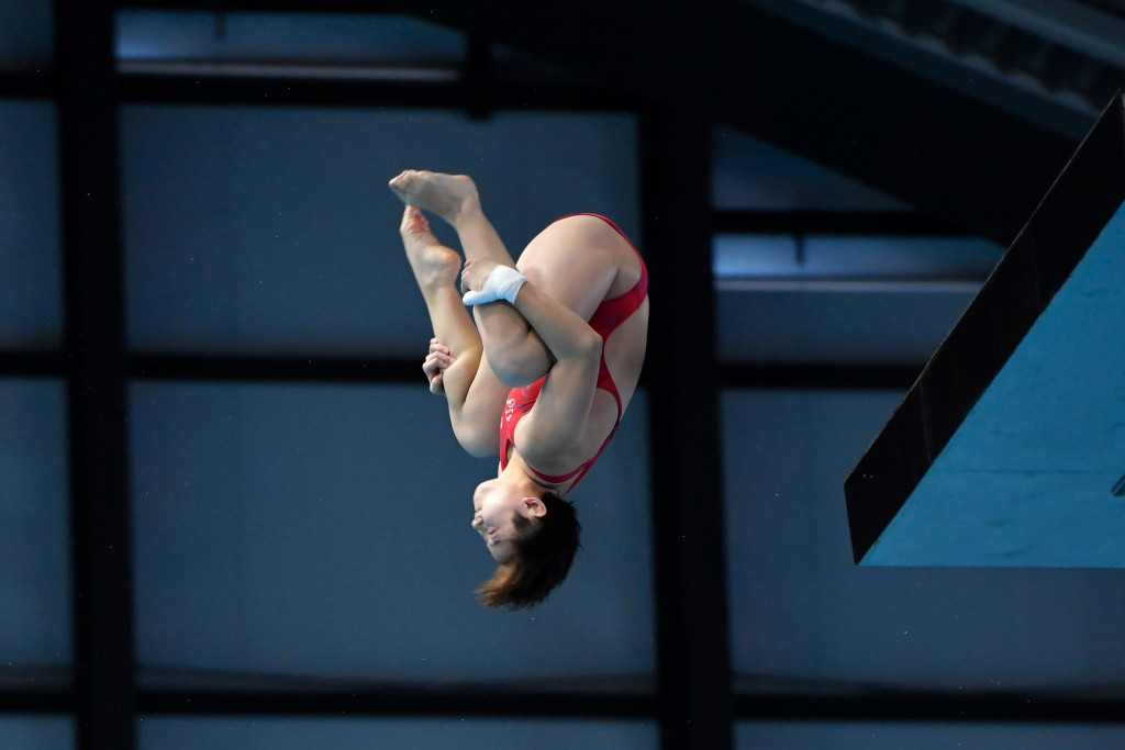 Si Yajie won a third 10 metre platform gold of the season ©Getty Images