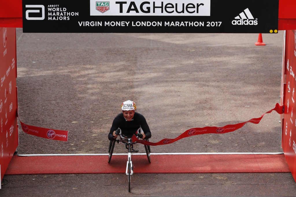 Switzerland's Manuela Schär earned her first London Marathon victory in the women's wheelchair race with a course record after finishing second to America's Tatyana McFadden for the last three years ©Getty Images