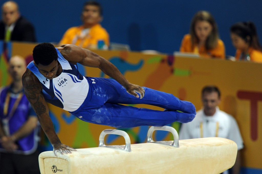 Marvin Kimble shared the pommel horse title with Jossimar Calvo Morena of Colombia ©AFP/Getty Images