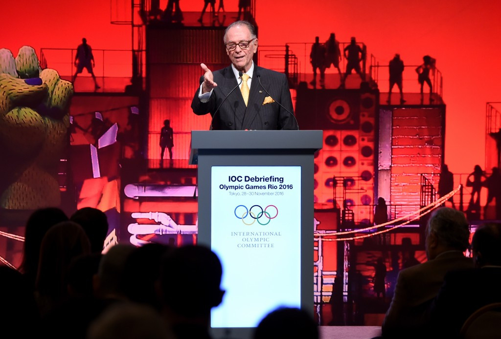 Carlos Nuzman pictured speaking at a Rio 2016 debrief in Tokyo in November ©Getty Images