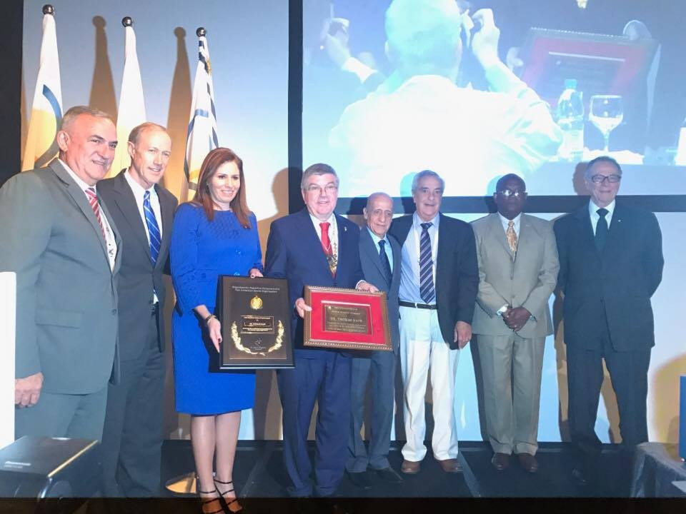 Thomas Bach was honoured before his speech during the PASO General Assembly ©ITG