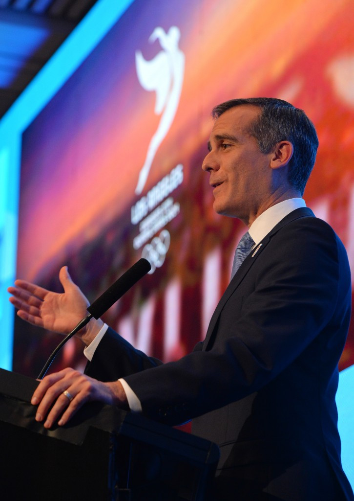 Los Angeles Mayor Eric Garcetti has repeatedly claimed his city are targeting only the 2024 Olympic Games ©Getty Images