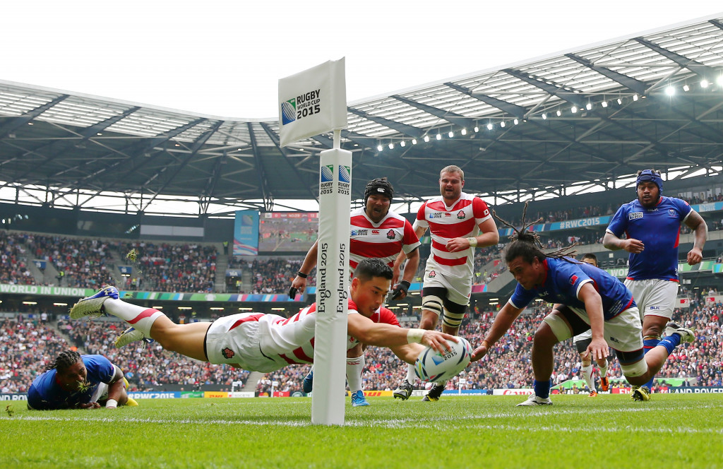 Rugby has enjoyed rapid development in Japan following the team's exploits at the 2015 Rugby World Cup in England but there are fears the 2019 tournament could be overshadowed by Tokyo 2020 ©Getty Images