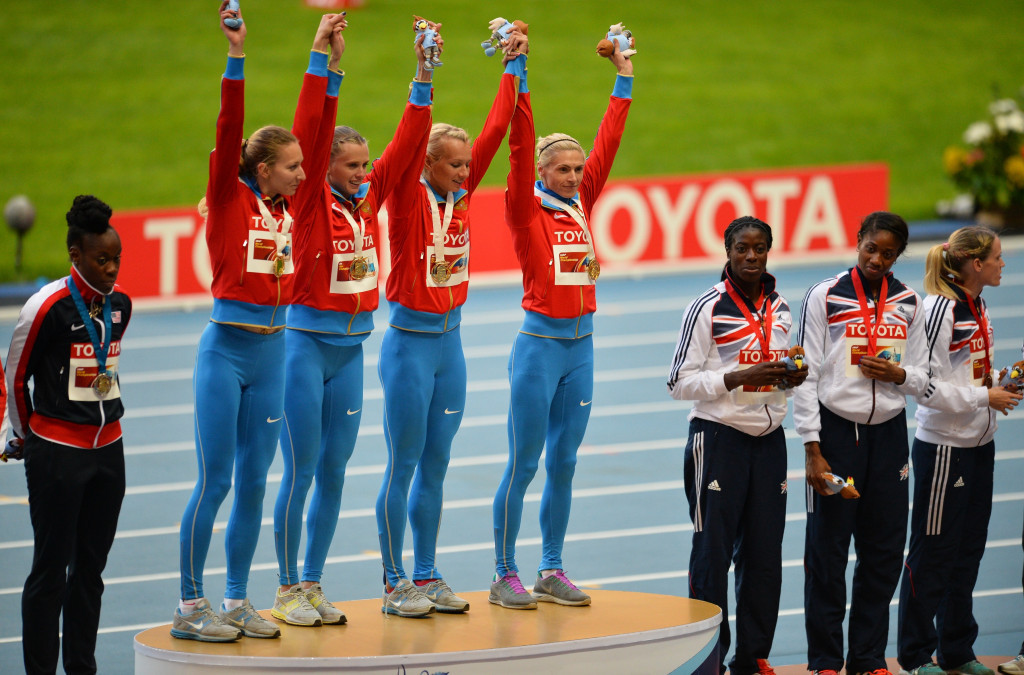 The IAAF has stripped Russia of its women's 4x400m relay gold medal from the Moscow 2013 World Championships ©Getty Images